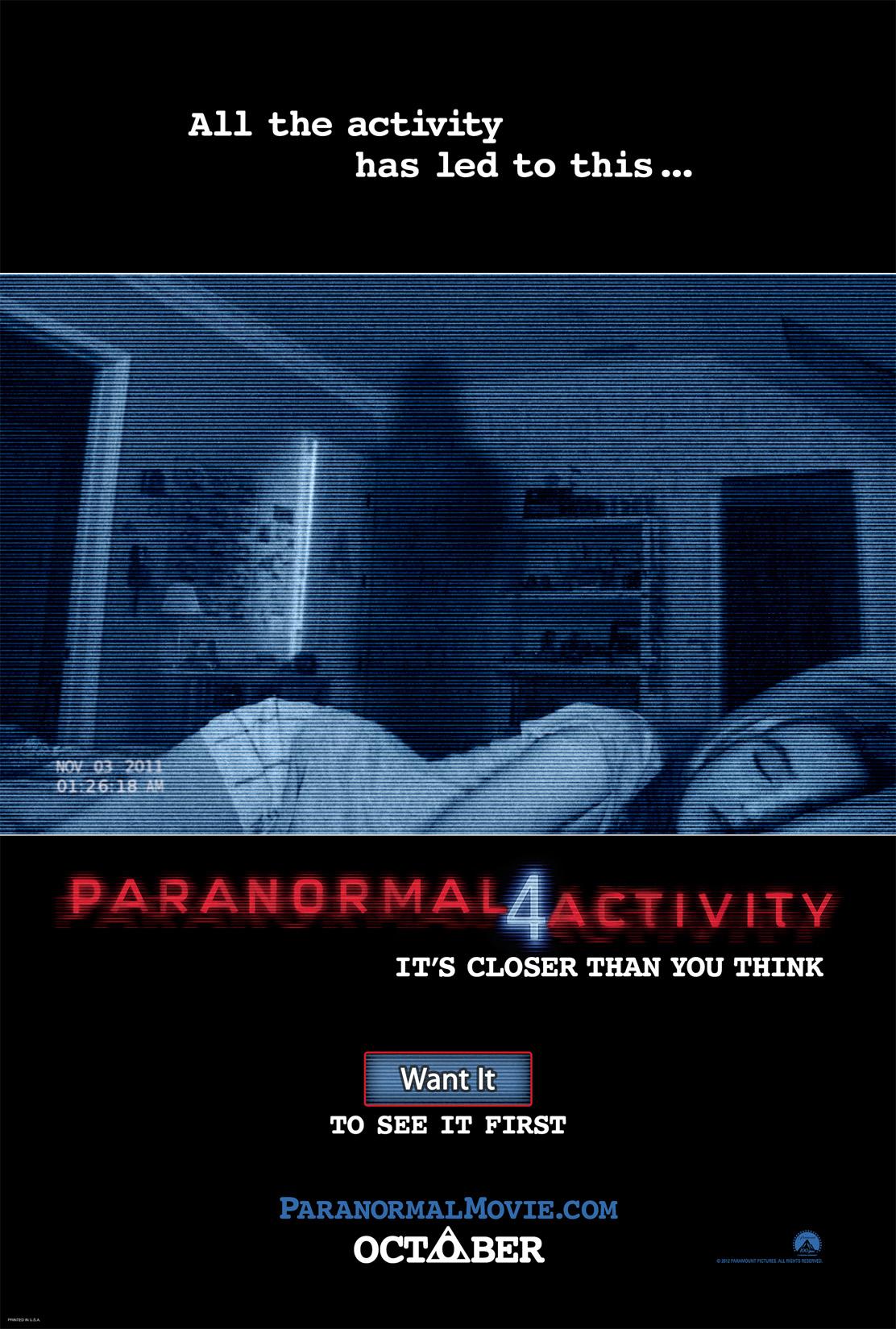 """¡Es de miedo ! Tienes 48 horas para participar en """"Paranormal Activity 4"""". Screening."""