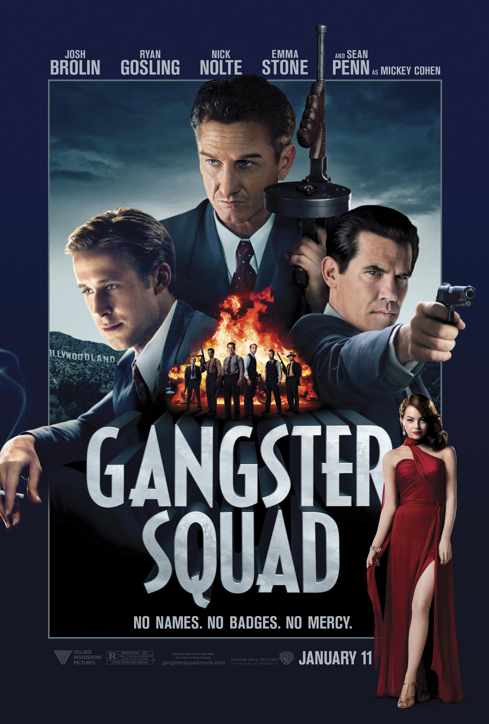 """Póster oficial de """"Gangster Squad"""". Tremendo reparto: Sean Penn, Ryan Goslin y Josh Brolin."""