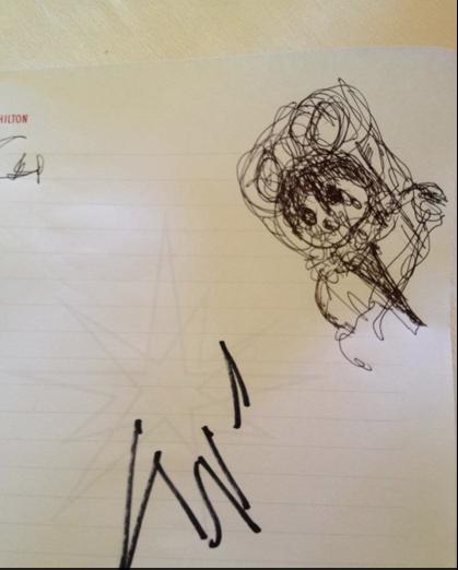 """Dibujo que hizo Tom Hanks durante entrevista """"Cloud Atlas""""."""