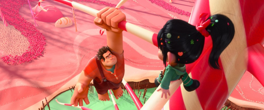 """""""WRECK-IT RALPH""""   (L-R) RALPH and VANELLOPE VON SCHWEETZ in the video game world of Sugar Rush. ©2012 Disney. All Rights Reserved."""