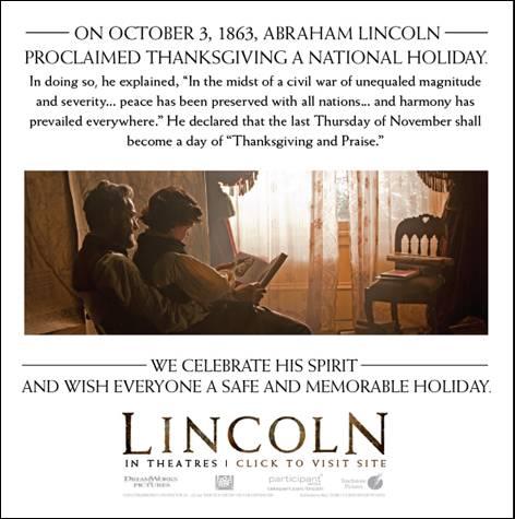 """""""Thanksgiving"""" uno de los legados de """"Lincoln"""".  Breve reseña de la película."""