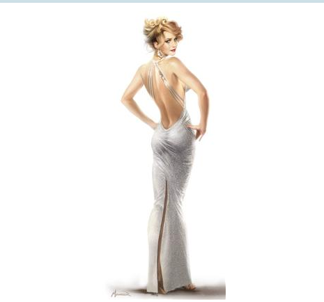 Illustration by Warren Manser for Jennifer Lawrence's costume in Columbia Pictures' AMERICAN HUSTLE. Designed by Michael Wilkinson. PHOTO BY: Illustrated by Warren Manser. COPYRIGHT: © 2013 Annapurna Productions LLC All Rights Reserved.