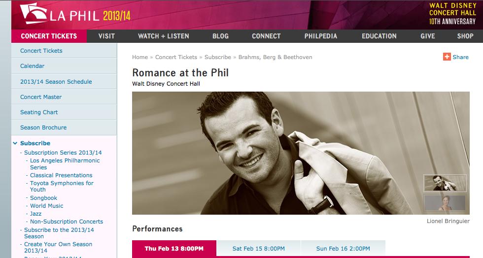 """""""Tu Romance en la LA PHIL"""" excelente opción para San Valentín."""