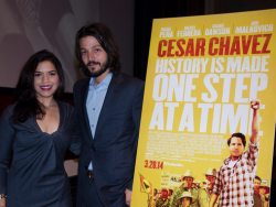 Actress America Ferrera, Director Diego Lugo and Producer Pablo Cruz attend the screening of Cesar Chavez which was hosted by the Congressional Hispanic Caucus Institute and the United Farmers of America at the Capitol visitor Center in Washington DC on February 4, 2014. Photo by Kris Connor