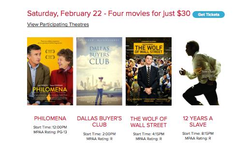 Maratón de Películas Nominadas al Oscar en el AMC de Universal CityWalk.