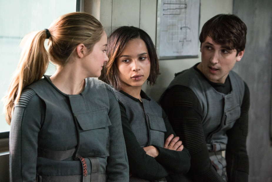 (L-R) SHAILENE WOODLEY, ZOE KRAVITZ and BEN LLOYD HUGHES star in DIVERGENT Date Added:6/25/2013 9:19:08 AM Addtl. Info:	Photo Credit: Jaap Buitendijk ©2013 Summit Entertainment, LLC. All rights reserved.