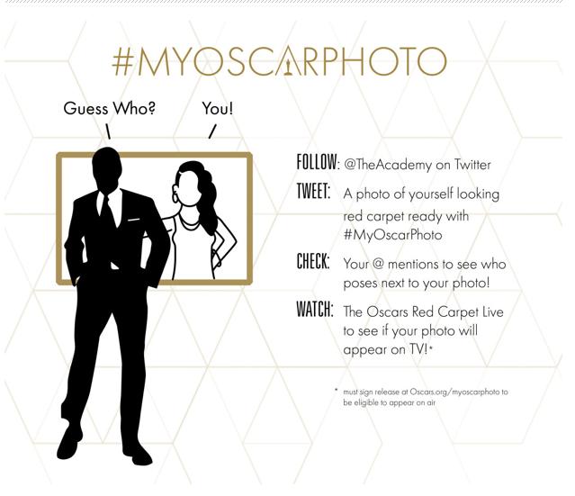 La Academia invita a los fans a unirse a la celebración del OSCAR® con #MyOscarPhoto en Twitter.