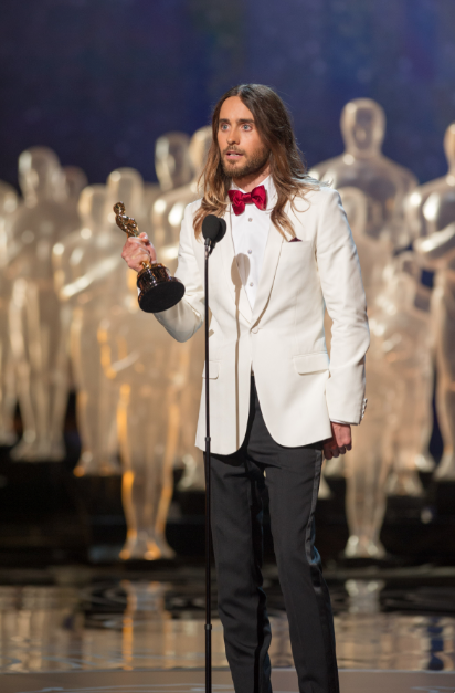 "Jared Leto accepts the Oscar® for Performance by an actor in a supporting role for his role in ""Dallas Buyers Club"" during the live ABC Telecast of The Oscars® from the Dolby® Theatre in Hollywood, CA Sunday, March 2, 2014. credit: Michael Yada / ©A.M.P.A.S."