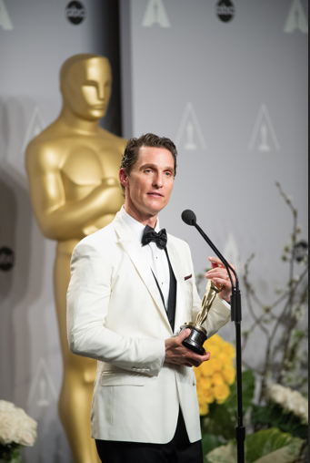 "After winning the category Performance by an actor in a Leading role for his role in ""Dallas Buyers Club"", actor Matthew McConaughey poses with his Oscar® for the press. The Oscars® are presented live on ABC from the Dolby® Theatre in Hollywood, CA Sunday, March 2, 2014. credit: Bryan Crowe / ©A.M.P.A.S."