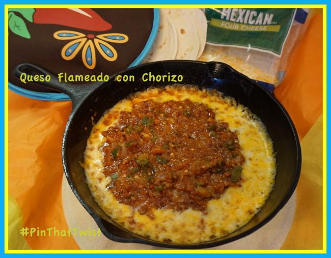 Receta Queso Flameado con Chorizo al estilo mi tierra #PinThatTwist #ad