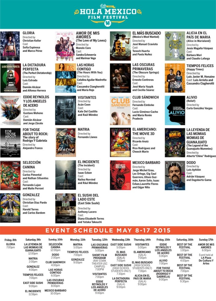 Calendario HOLA MEXICO FILM FESTIVAL.